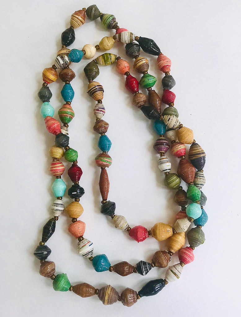 The Classic Paper Bead Necklace - Multi Tones