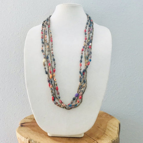5 Strand Paper and Seed Bead Necklace