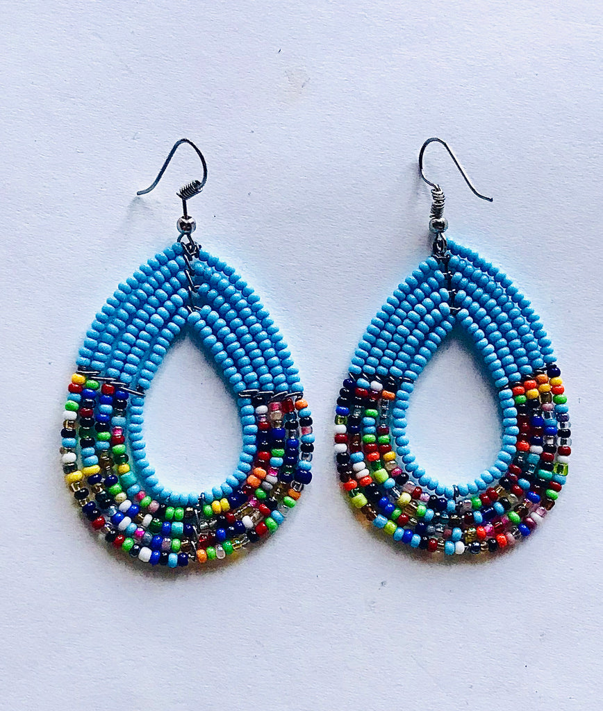 Maasai Tribal Earrings - Sky Blue/Multi
