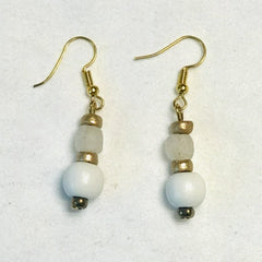 White Wood Bead Earrings with Clear Ghana Glass