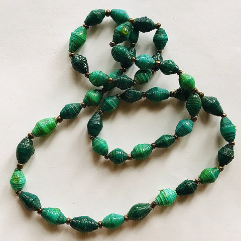 Multi-Mix Teal Paper Bead Short Necklace