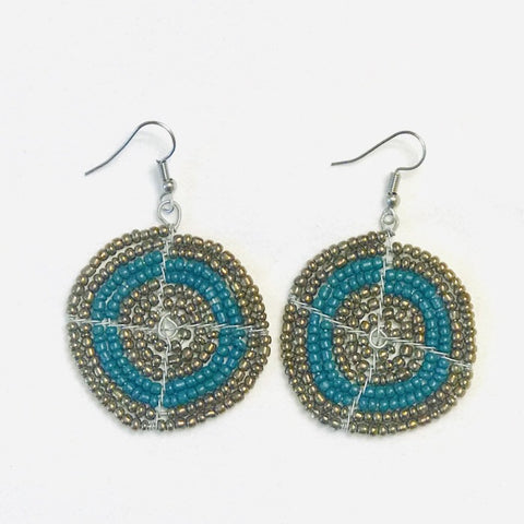 Ethnic Maasai Beaded Earrings - Teal
