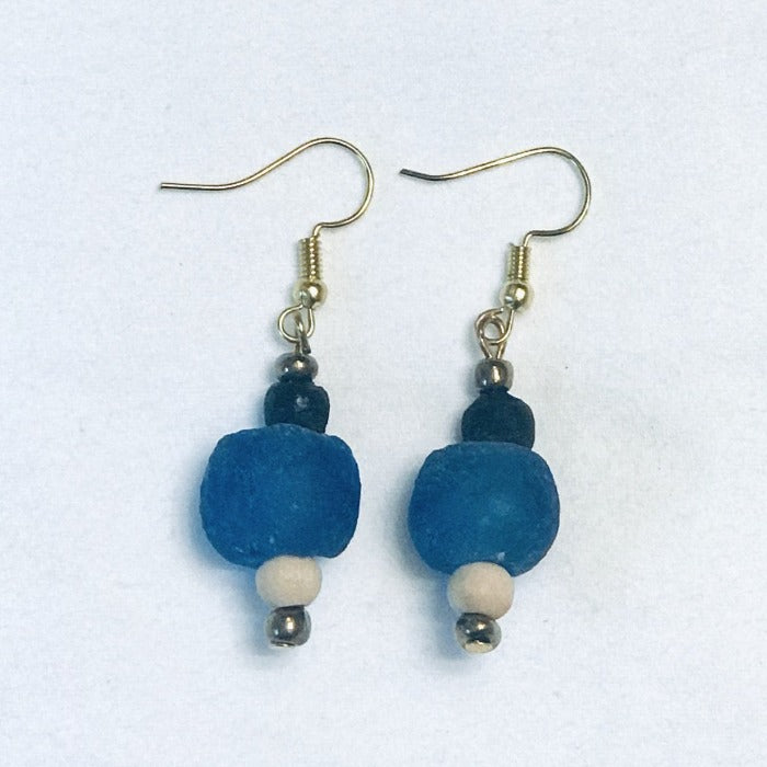 Ghana Glass Bead Earrings in Blue/Black
