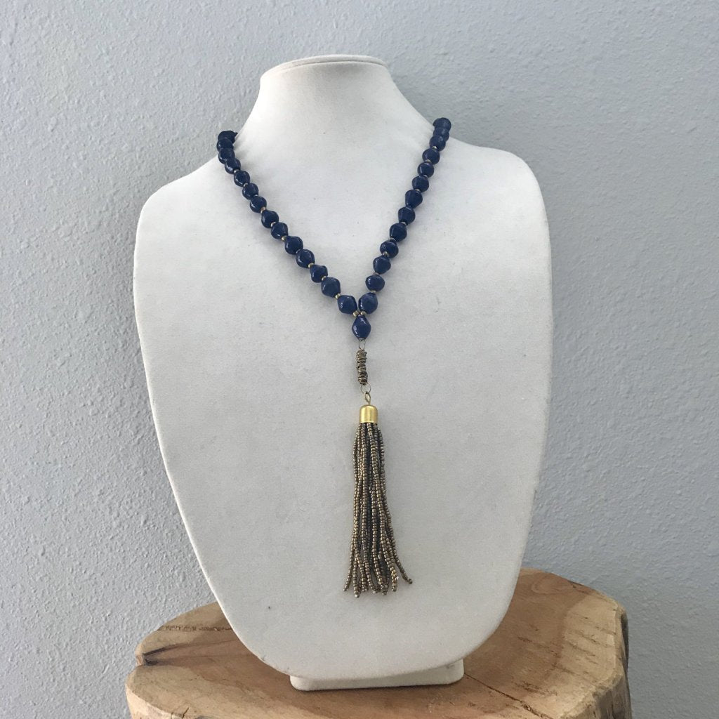 Navy Paper Bead Necklace with Gold Tassel