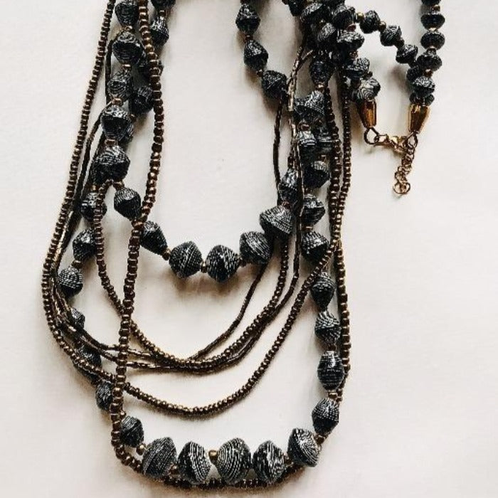 Charcoal Paper Bead Cascade Necklace