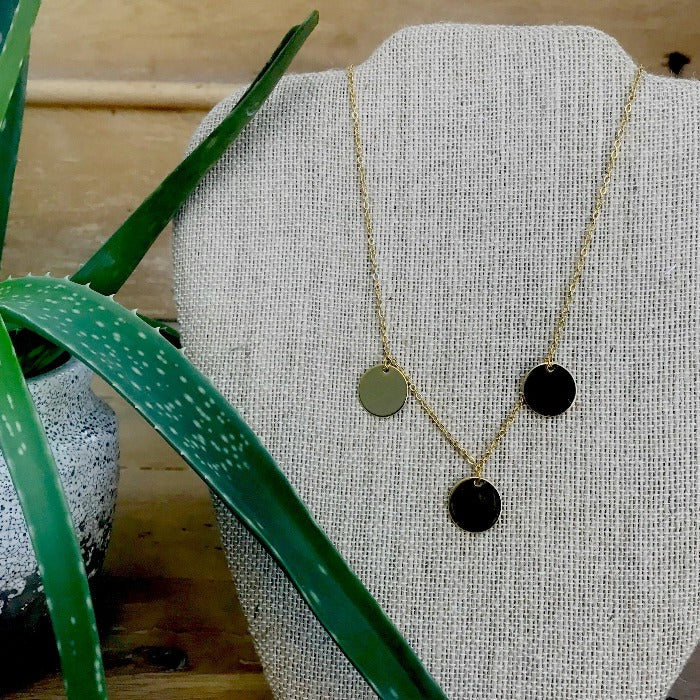 Triple Discs with 14K Gold-filled Rope Chain Necklace
