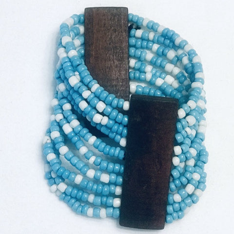 Blue/White Beaded Stretchy African Cuff Bracelet with Wood