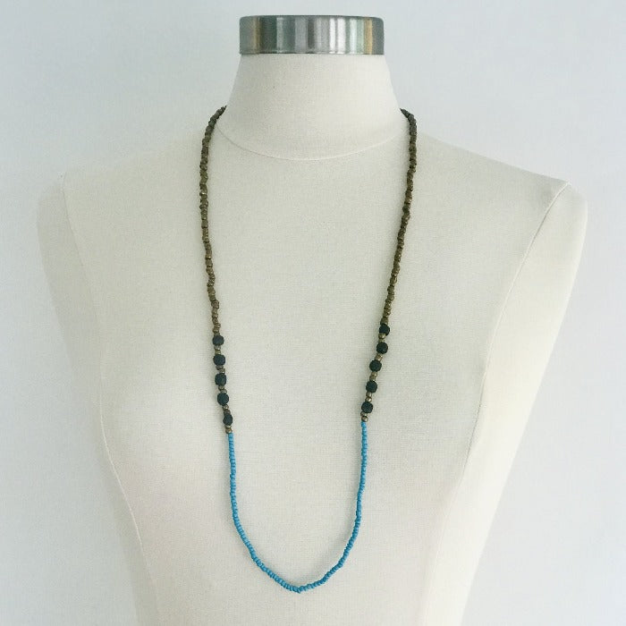 Ghana Black Glass and Turquoise Seed Beads Necklace