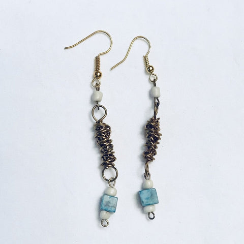 Gold Wire and Turquoise Earrings