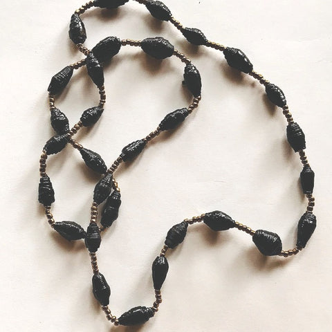Paper Bead Short Necklace - Long Black Paper Beads