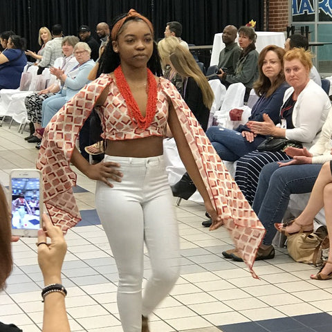 Biashara Jewelry in a Fashion Show - Coral Seed Necklace available in our SALE Collections..