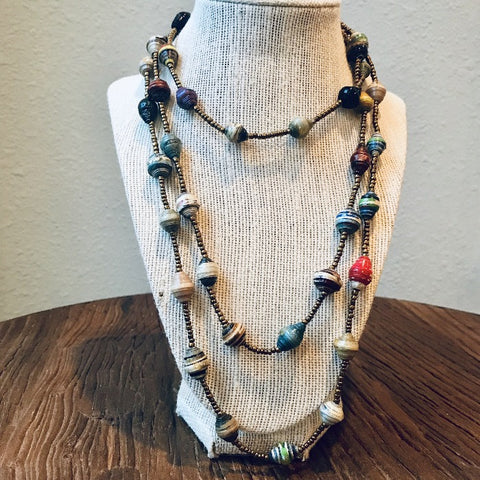 Paper Bead Multi Tones Necklace