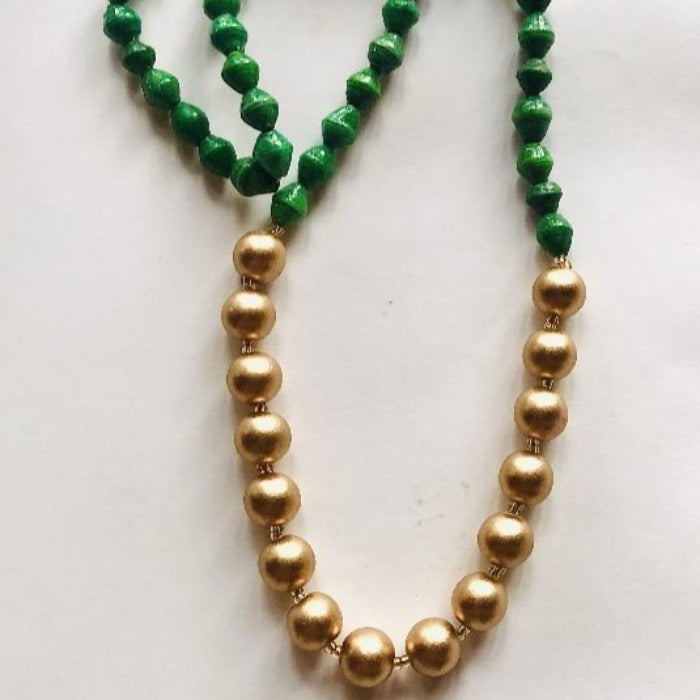 Emerald Paper Bead & Gold Necklace