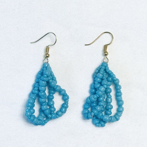 Ethnic Strands Maasai Earrings-Sky Blue