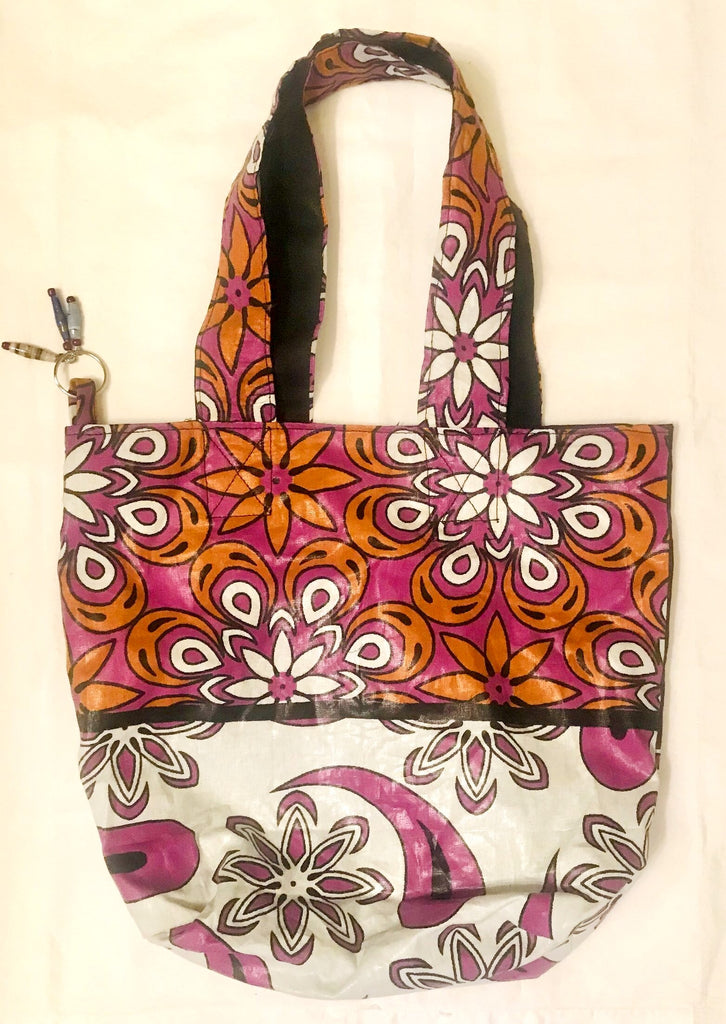 Hand Bag - Orange/White Flowers Kanga