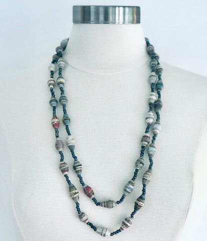 Paper Bead Muted Tones Chameleon Necklace