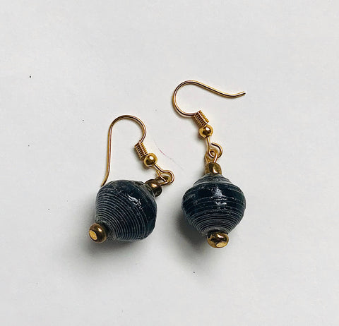 Paper Bead Single Drop Earrings - Charcoal