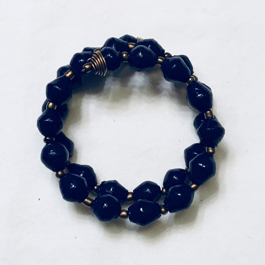 Paper Bead Navy and Twisted Wire Wrap Bracelet