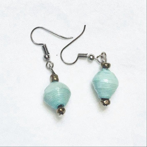 Sea Foam Paper Bead Single Drop Earrings
