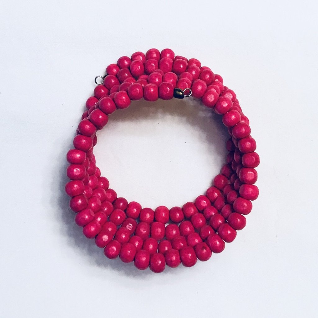 Wood Beaded Wrap Bracelet Hot Pink