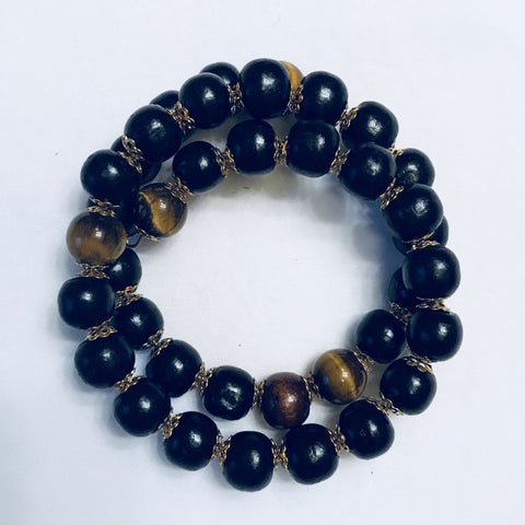 Black Bead Tiger Eye Bracelet