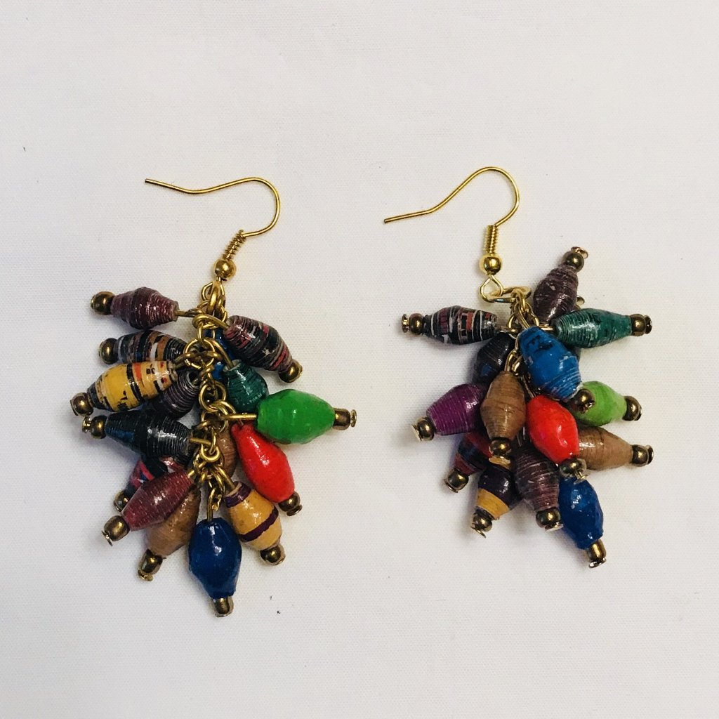 African Inspired Paper Bead Cluster Earrings