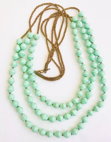 Sea Foam Paper Bead Triple Strands Necklace