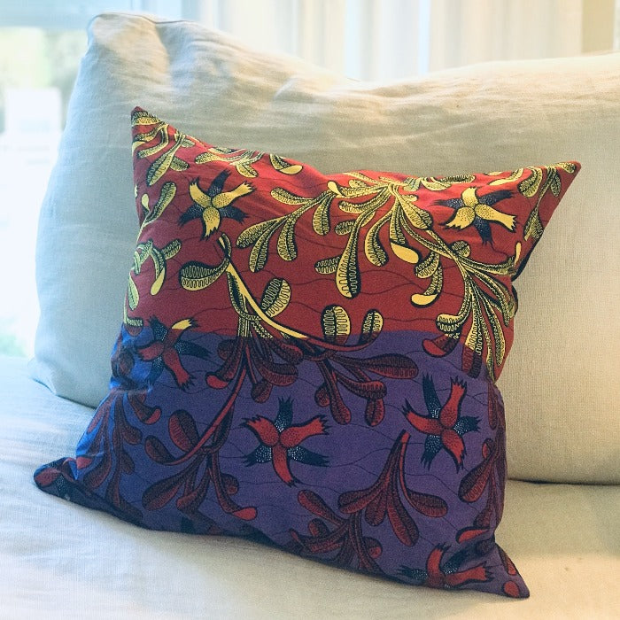 African Kanga Fabric Square Pillow