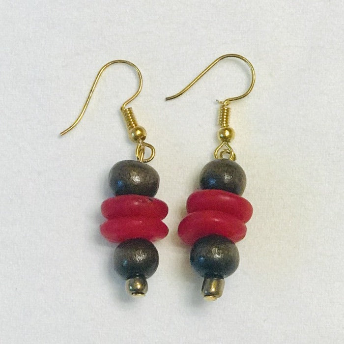 Red Ghana Glass Beads/Wood Earrings