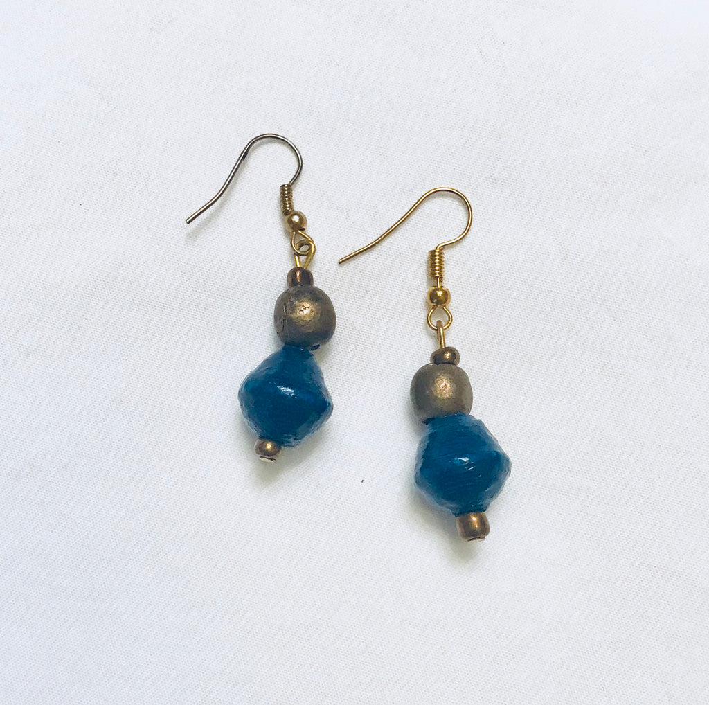 Dark Blue Paper Bead and Egyptian Brass Drop Earrings