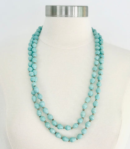 Paper Bead Lite Turquoise Classic Necklace