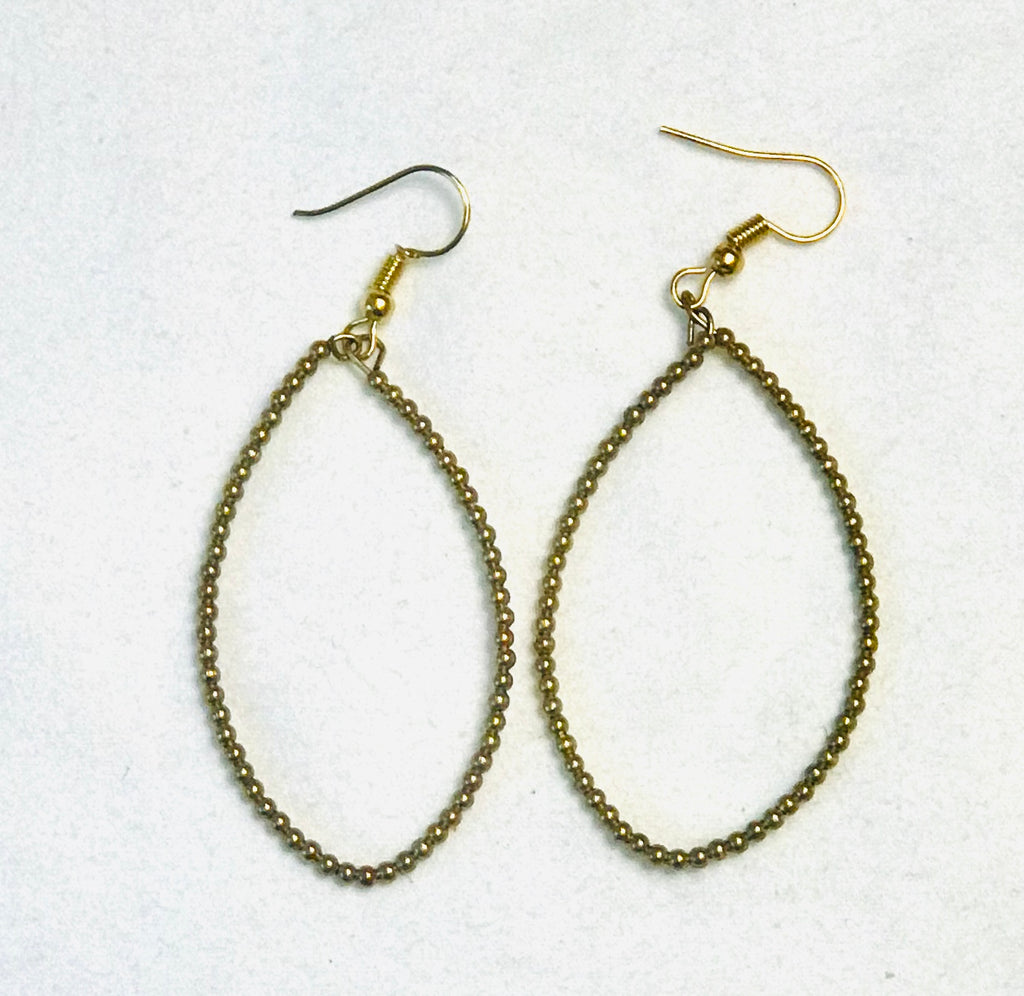 Gold Seed Bead Teardrop Earrings