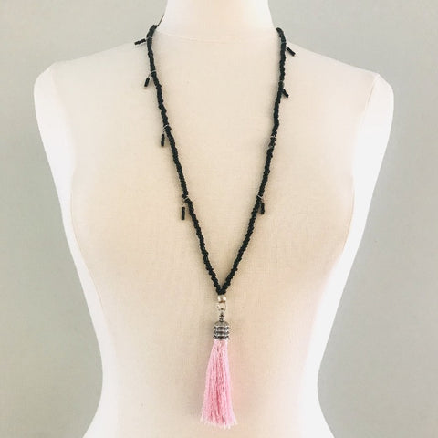 Black Seed Bead with Pink Tassel Necklace