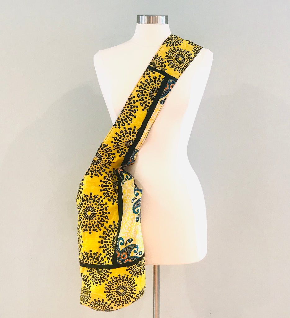 Cross-body Slouchy Bag - Yellow/Black Floral