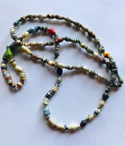 Small Multi Tones Paper Bead Necklace