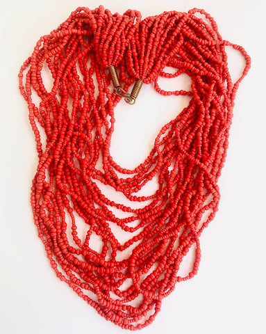 Coral Ethnic Strands Necklace