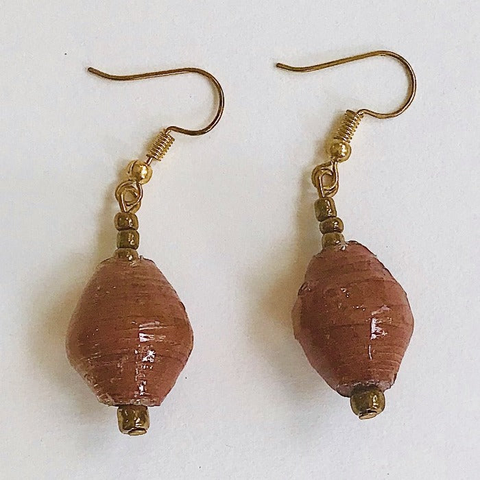 Brown Chunky Paper Bead Earrings