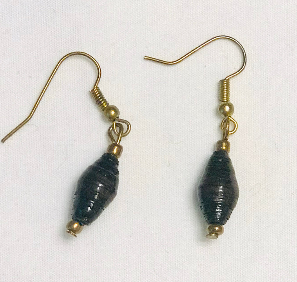 Paper Bead Long Earrings - Black
