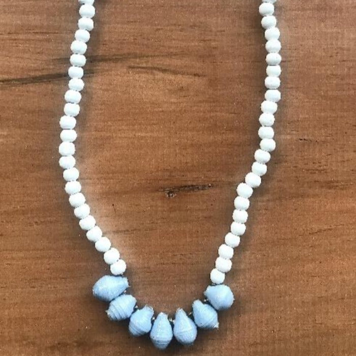 Toto Child White Wood/Paper Bead Necklace - Blue