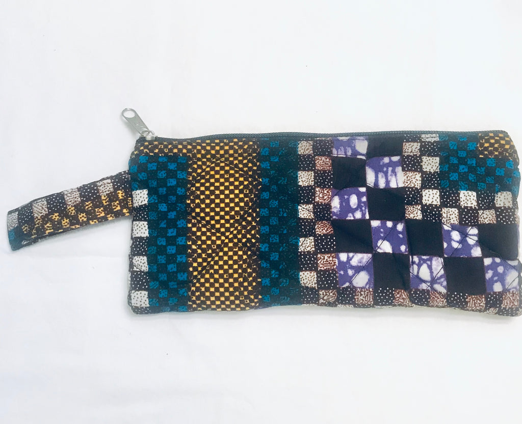 Large Zipper Pouch - Purple/Teal Kanga