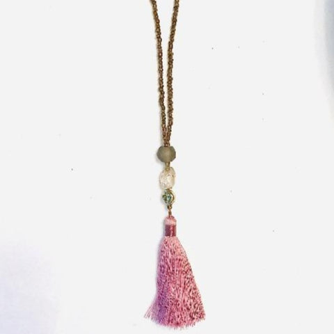 Brown Ghana Glass and Pink Tassel Necklace