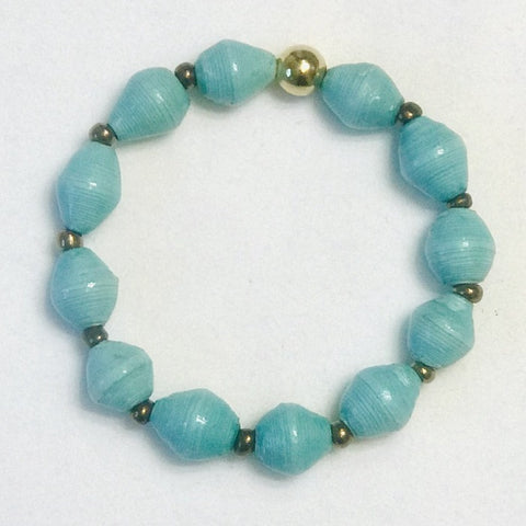 Paper Bead Lite Turquoise Stretchy Bracelet