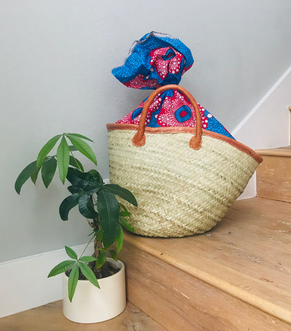 Woven Beach Tote with Red/Blue Fabric Lining
