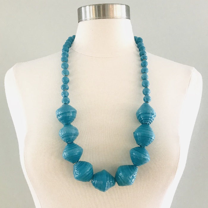 Anastasia Chunky Paper Bead Necklace-Turquoise