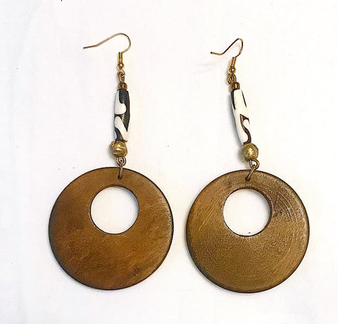 Bone and Wood Circle Earrings