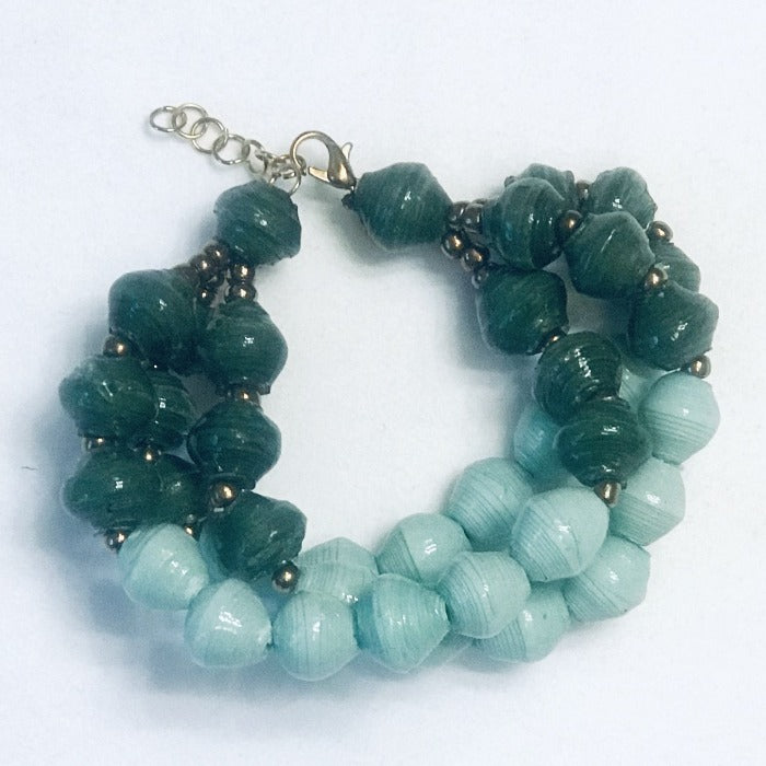 Paper Bead Sea Foam and Emerald Green Tribal Bracelet