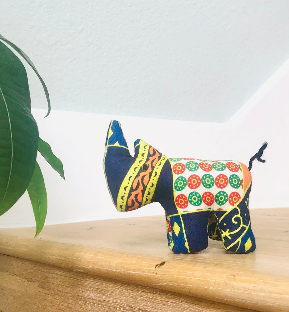 Tiny Stuffed Rhino - Navy Floral Print