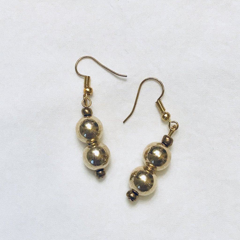 Shiny Brass Double Drop Earrings