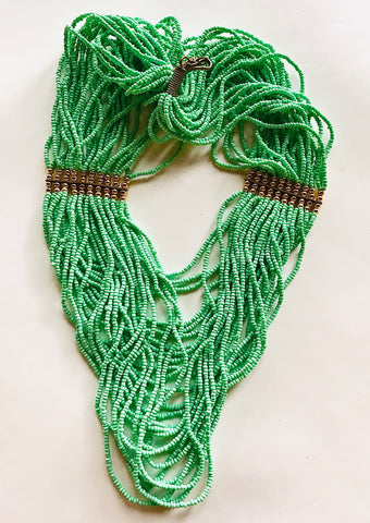 Sea Foam Seed Bead Ethnic Strands Necklace