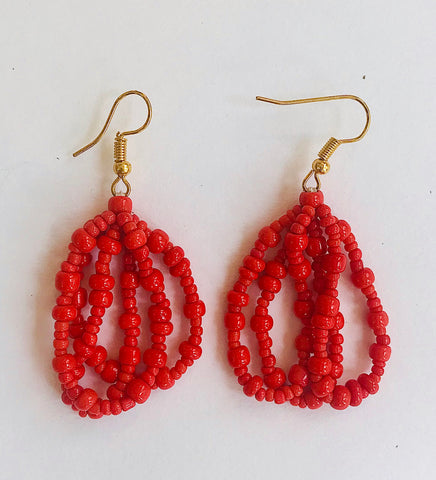 Coral Seed Bead Ethnic Strands Earrings